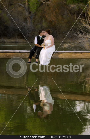 Kissing Female Couple at Lake stock photo, Kissing same sex newlywed on dock above lagoon by Scott Griessel