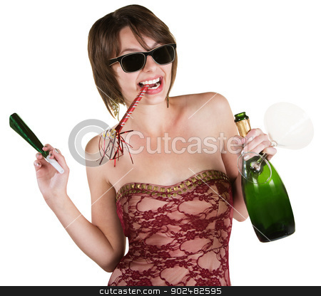 Party Girl with Wine Bottle stock photo, Happy lady with wine and party favors on white background by Scott Griessel