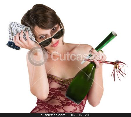 Party Girl with Hangover stock photo, Woman with hangover and ice pack over white background by Scott Griessel