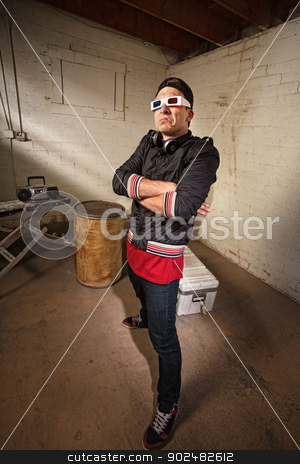 Awkward Man in Hip Hop Pose stock photo, Awkard white man in 3D glasses and hip hop pose by Scott Griessel