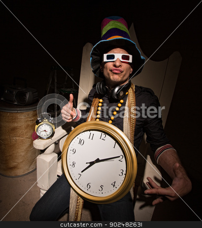 Rapper with Large Clock stock photo, Funny white rapper with multi colored hat and large clock by Scott Griessel
