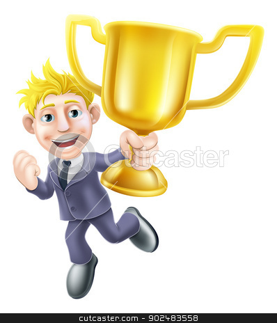 Business man winner and trophy stock vector clipart, A cartoon business man winner character holding a gold trophy and happily jumping in the air  by Christos Georghiou
