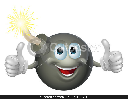 Cartoon bomb man stock vector clipart, Drawing of a cartoon cherry bomb man smiling and giving a double thumbs up by Christos Georghiou