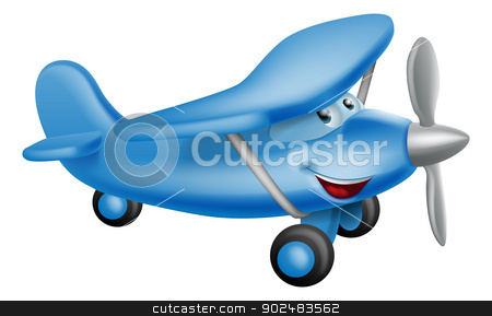 Cute airplane cartoon character stock vector clipart, An illustration of a cute little happy cartoon blue prop airplane character by Christos Georghiou