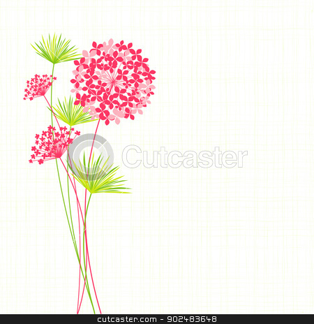 Springtime Hydrangea Flower Background stock vector clipart, Springtime Hydrangea Flower on Green Background by meikis