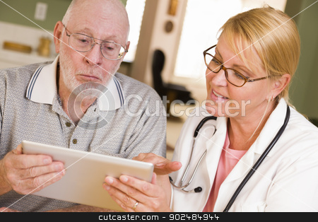 Doctor or Nurse Talking to Senior Man with Touch Pad stock photo, Doctor or Nurse Talking to Senior Man with Touch Pad Computer. by Andy Dean