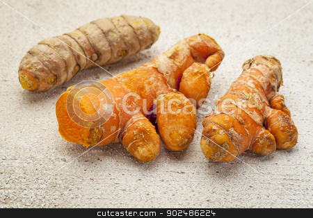 turmeric root  stock photo, turmeric root on a white painted rough barn wood surface by Marek Uliasz