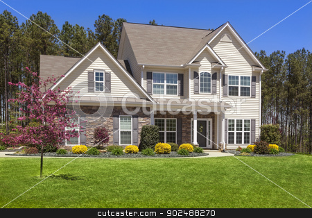 Beautiful Newly Constructed Modern Home stock photo, Beautiful Newly Constructed Modern Home Among the Trees. by Andy Dean