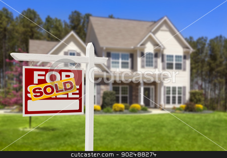 Sold Home For Sale Real Estate Sign and House stock photo, Sold Home For Sale Real Estate Sign and Beautiful New House. by Andy Dean