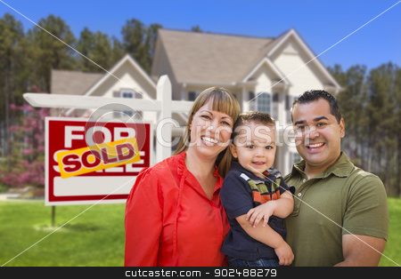 Family in Front of Sold Real Estate Sign and House stock photo, Mixed Race Young Family in Front of Sold Home For Sale Real Estate Sign and New House. by Andy Dean
