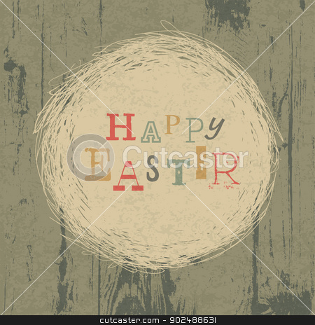 Happy easter vintage greeting card with nest symbol. Vector, EPS stock vector clipart, Happy easter vintage greeting card with nest symbol. Vector, EPS10 by pashabo