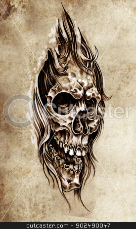 Sketch of tattoo art, skull head illustration, vintage style stock photo, Sketch of tattoo art, skull head illustration, vintage style by Fernando Cortes