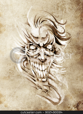 Sketch of tattoo art, smilling skull and clown stock photo, Sketch of tattoo art, smilling skull and clown by Fernando Cortes