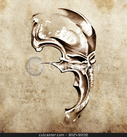 Sketch of tattoo art, skull demon mask stock photo, Sketch of tattoo art, skull demon mask by Fernando Cortes