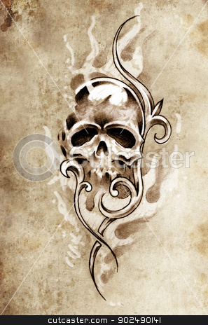 Sketch of tattoo art, skull devil, decorative vintage illustrati stock photo, Sketch of tattoo art, skull devil, decorative vintage illustration by Fernando Cortes