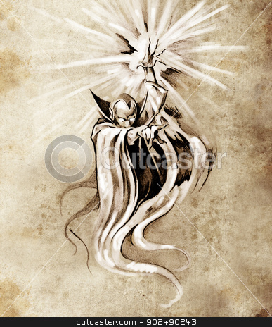 Sketch of tatto art, warlock, sorcerer, halloween concept stock photo, Sketch of tatto art, warlock, sorcerer, halloween concept by Fernando Cortes