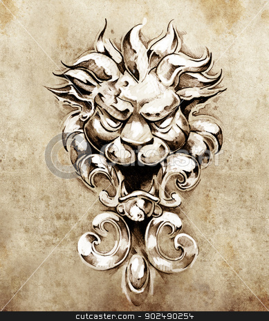 Sketch of tattoo art, gargoyle lion illustration stock photo, Sketch of tattoo art, gargoyle lion illustration by Fernando Cortes