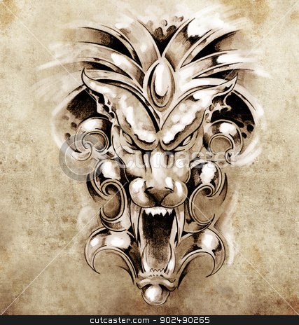 Sketch of tattoo art, gargoyle devil mask stock photo, Sketch of tattoo art, gargoyle devil mask by Fernando Cortes