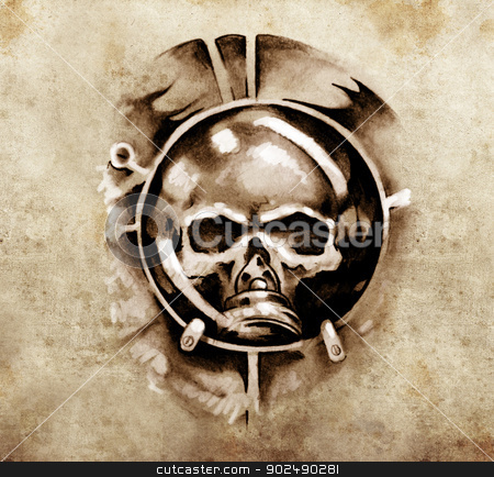 Sketch of tattoo art, monster dark mask stock photo, Sketch of tattoo art, monster dark mask design elements over vintage background by Fernando Cortes