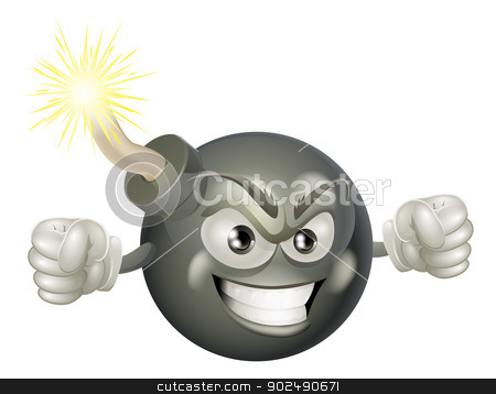 Angry mean bomb cartoon mascot stock vector clipart, An illustration of mean or angry looking cartoon bomb character with a lit fuse by Christos Georghiou
