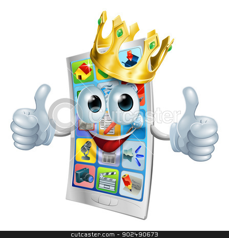 Cell phone cartoon king stock vector clipart, Illustration of a cell phone king character wearing a gold crown and giving a double thumbs up by Christos Georghiou