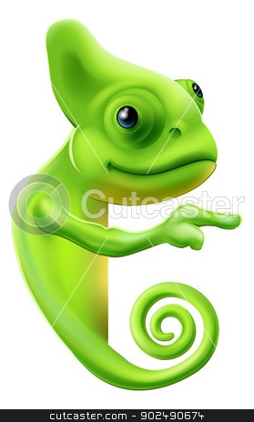 Cartoon chameleon pointing stock vector clipart, An illustration of a cute cartoon chameleon pointing round a sign or banner by Christos Georghiou