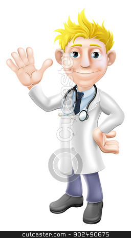 Cartoon doctor waving stock vector clipart, Illustration of a young cartoon doctor standing and waving with stethoscope by Christos Georghiou