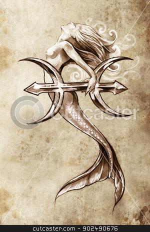 Tattoo art, sketch of a mermaid, pisces vintage style stock photo, Tattoo art, sketch of a mermaid, pisces vintage style by Fernando Cortes