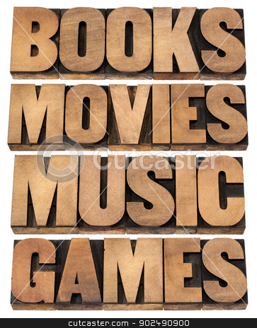 books, movies, music and games stock photo, books, movies, music and games  - entertainment concept - collage of isolated words in vintage letterpress wood type printing blocks by Marek Uliasz