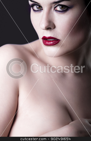 Sensual beautiful nude brunette girl over dark backdrop, caucasi stock photo, Sensual beautiful nude brunette girl over dark backdrop, caucasian woman by Fernando Cortes