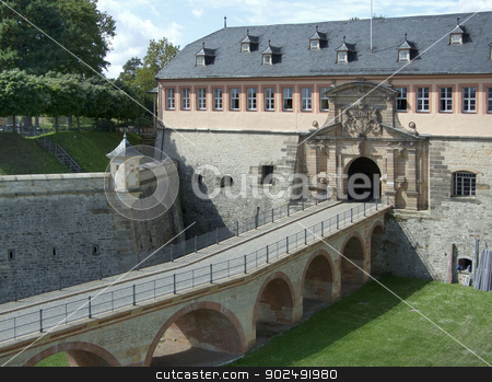 Fortress Petersberg stock photo, Entrance of the Fortress Petersberg in Erfurt, a city in Thuringia by prill