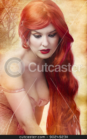 Skincare, Face of a beautiful and voluptuous young woman with re stock photo, Skincare, Face of a beautiful young woman with redhair by Fernando Cortes