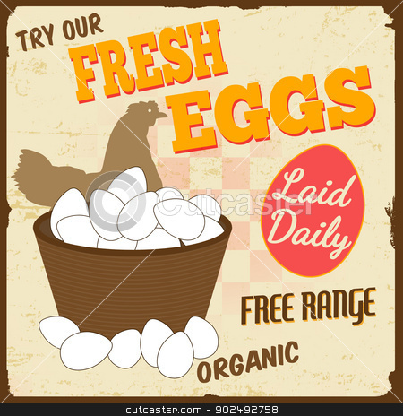 Fresh eggs vintage poster stock vector clipart, Fresh eggs vintage retro grunge poster, vector illustrator by radubalint