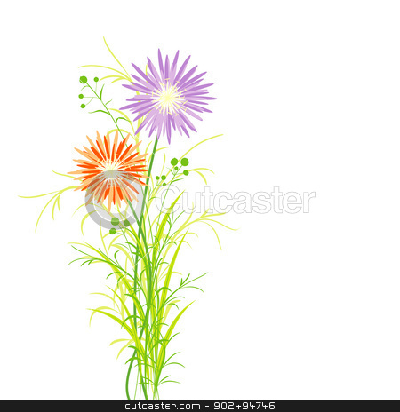 Springtime Colorful Flower Greeting Card stock vector clipart, Springtime Colorful Flower Greeting Card Background by meikis