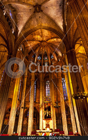 Stone Columns Catholic Basilica Barcelona Cathedral in Catalonia stock photo, Stone Columns Catholic Basilica Barcelona Cathedral in Catalonia Spain.  Built in 1298. by William Perry
