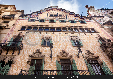 Casa Mila Antoni Gaudi House Museum Barcelona Catalonia Spain stock photo, Casa Mila Antoni Gaudi House Museum Barcelona Catalonia Spain.  Built between 1906-19104 by William Perry