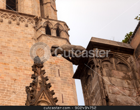 Gargoyle Catholic Barcelona Cathedral Catalonia Spain stock photo, Stone Gargoyle Dragon Catholic Barcelona Cathedral Catalonia Spain.  Gargoyles are used as water spouts to drain water from roof of cathedral.  Built in 1298.   by William Perry