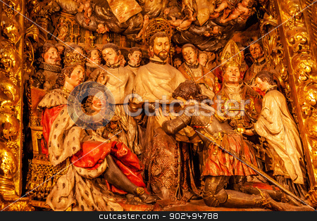 Sculpted Wooden Altarpiece Mercedarian Order Catholic Basilica B stock photo, Sculpted Altarpiece Foundation of Mercedarian Order Catholic Basilica Barcelona Cathedral in Catalonia, Barcelona, Spain.  Order founded in 1218 to ransom Christians in Barcelona, Spain.  Altarpiece by John Roig Maler 1688.  Cathedral built in 1298.     by William Perry