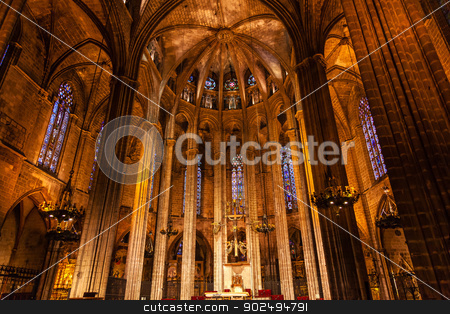 Gothic Catholic Cathedral Basilica Stone Columns Barcelona Catal stock photo, Gothic Catholic Cathedral Basilica Stone Columns Barcelona Catalonia Spain.  Built in 1298. by William Perry