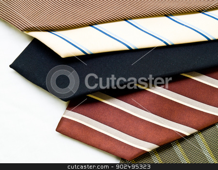 Colorful ties isolated on white background stock photo, Colorful ties isolated on white background by gururugu