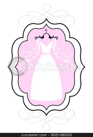 wedding dress in frame, vector stock vector clipart, wedding dress in vintage picture frame, bridal shower, vector by Beata Kraus