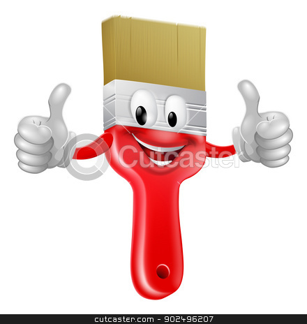 Thumbs up paintbrush stock vector clipart, Drawing of a smiling red cartoon paint brush character mascot giving a thumbs up by Christos Georghiou
