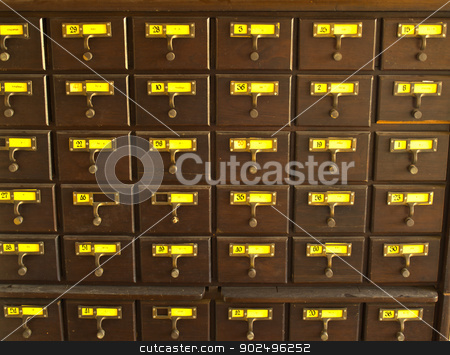 Old wooden card catalogue in Thai library stock photo, Old wooden card catalogue in Thai library by gururugu