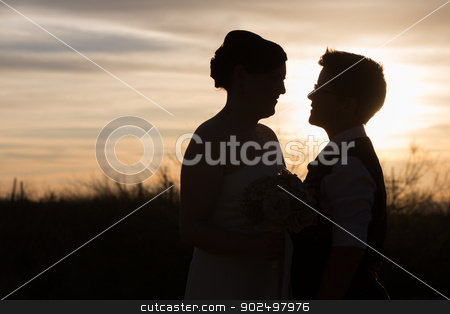 Loving Gay Couple stock photo, Gay couple married in front of beautiful sunset by Scott Griessel