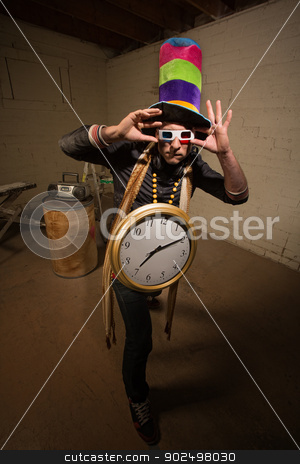 Goofy Poser with Large Clock stock photo, Man with 3D glasses tall hat and large clock by Scott Griessel