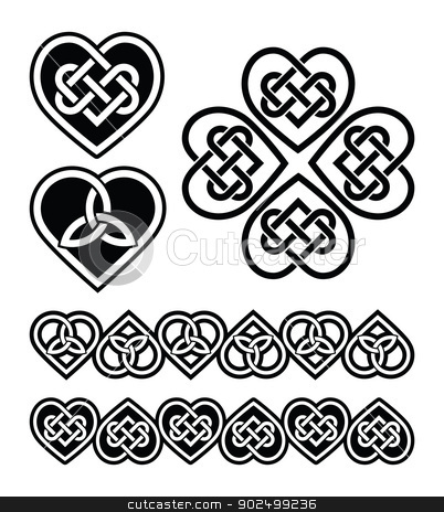 Celtic heart knot - vector symbols set stock vector clipart, Set od traditional Celtic symbols, knots, braids in black and white by Agnieszka Bernacka