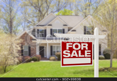 Home For Sale Real Estate Sign and House stock photo, Home For Sale Real Estate Sign and Beautiful New House. by Andy Dean