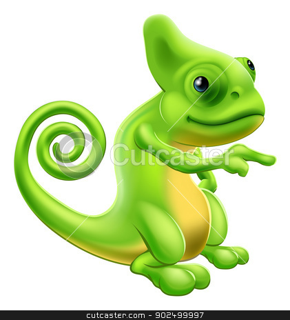 Chameleon mascot pointing stock vector clipart,  by Christos Georghiou