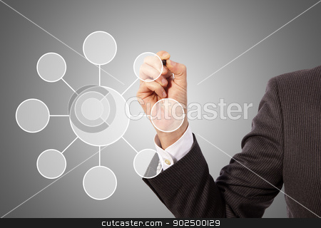 drawing social network structure stock photo, Male hand drawing social network structure, grey background by matteo bragaglio
