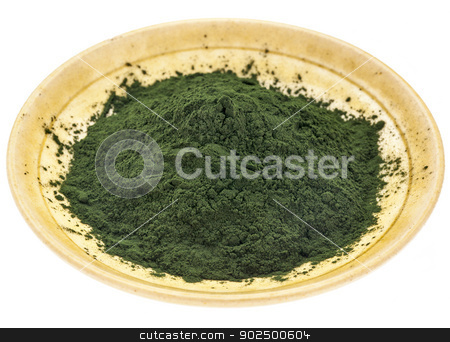 Hawaiian spirulina powder stock photo, small bowl of Hawaiian spirulina powder against a rough white painted barn wood background by Marek Uliasz